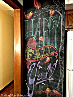 Fall Chalkboard Art.  Like the colors they used.