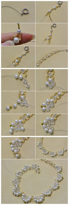 #Beebeecraft #Tutorial on making a white #Pearl #FlowerNecklace for #Girls