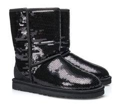 UGG Australia Boots Classic Short Sparkles. Schwarz