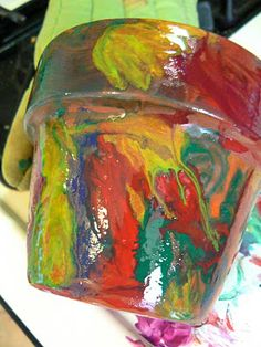 using melted crayons