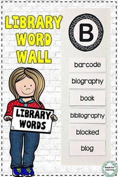 Library Vocabulary Word Wall Terms with Definitions : School Library Decor, School Library Lessons, Library Lesson Plans, Library Themes, Elementary School Library, Library Skills, Library Ideas, Library Displays, Elementary Schools