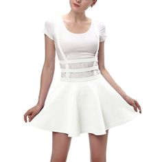 Women's Cute Elastic Waist Pink Over All's Pleated Mini Skirt