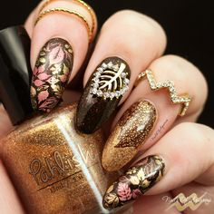 Fall nail art, autumn nails Products Used: Pahlish Drawing Number One, Pahlish Fields of Gold, UberChic Set 5 Fall Nail Art Designs, Cute Nail Designs, Different Nail Designs, Manicure Y Pedicure, Chic Nails, Stamping Nail Art, Autumn Nails, Easy Nail Art, Creative Nails