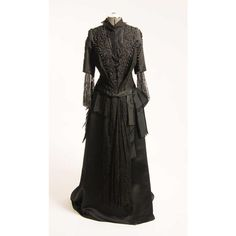 REDUCED Original 1880/1890s Victorian 2Pc Black Beaded Satin Ball-Gown... ($1,200) ❤ liked on Polyvore