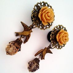 7/16 inch 11mm Caramel Bird in Flight Dangly Plugs by Glamsquared, $30.00