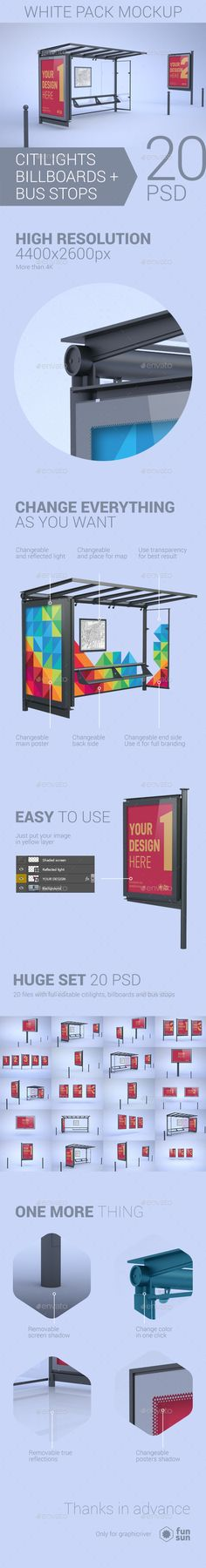 Citylights, Billboards, Bus Stops. White Mockup Design Template - Signage Print Mock Up Design Template PSD. Download here: https://graphicriver.net/item/citylights-billboards-bus-stops-white-mockup/16965666?s_rank=8&ref=yinkira
