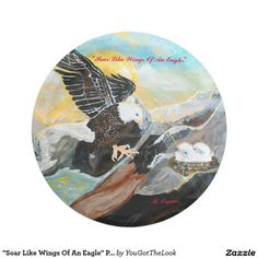 """Soar Like Wings Of An Eagle"" Paper Plates 7 Inch Paper Plate"