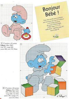 Baby Smurf Cross Stitch