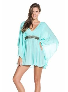 Women RESORT WEAR Tops PONCHOS OCEAN TILE EMBROIDERED PONCHO