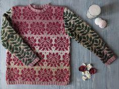 Jacquard hand-knit sweater Sketch in pink by woollywillow on Etsy https://www.etsy.com/se-en/listing/527781293/jacquard-hand-knit-sweater-sketch-in