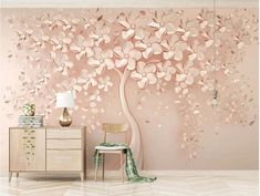 Custom Any Size Mural Wallpaper Stereo Rose Golden Relief Tree Fresco Modern Abstract Living Room TV Bedroom Art Wall Papers Tree Wall Painting, Wall Painting Living Room, Tree Wall Murals, Living Room Sofa, Dining Room, Tree Wallpaper For Walls, Room Wallpaper, Photo Wallpaper, Papier Paint