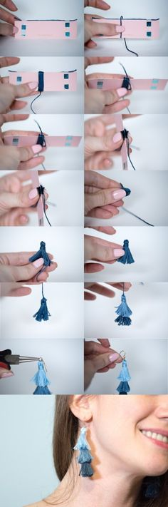 diy stacked tassel earrings