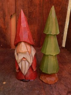 Hand Carved Christmas Gnome with Carved Tree by OldeWorldCarvings