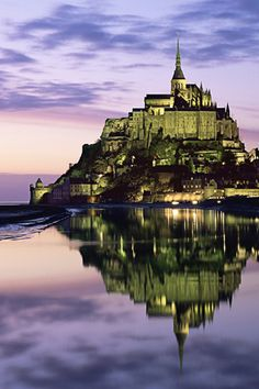 Reflections in the night, Le Mont Saint-Michel, Normandy, France
