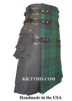 2 Tone Utility Kilts Black Duck Cloth Canvas Black by KiltThis