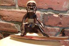 Hawaiian Tiki Man Surfer Dude, Hand Carved Wood Figure, Beach House Décor, Tiki man surfing by Morethebuckles on Etsy