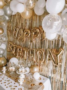 25th Birthday Ideas For Her, Golden Birthday Parties, Gold Birthday Party, Birthday Balloons, Golden Birthday Themes, 10th Birthday, 18 Birthday Party Themes, Adult Birthday Ideas, Birthday Surprise Ideas