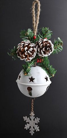 White Washed Tin Sleigh Bell Ornament - Bells - Christmas and Winter - Holiday Crafts Whitewashed Tin Sleigh Bell Ornament - Bells - Christmas and Winter - Holiday Crafts TrinTravels_PugsPlay Christmas Bells, Diy Christmas Ornaments, Rustic Christmas, Christmas Art, Christmas Projects, Winter Christmas, Handmade Christmas, Holiday Crafts, Christmas Wreaths