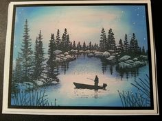 Stamp all images in memento tuxedo black Sky & water-memento summer sky, angel pink, danube blue Memento paris dusk used to create blue shading closest to cove image Signo white pen was added to create stars and light reflections on rocks and reeds.