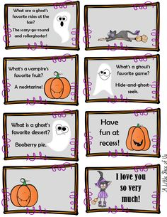 Come download and print out the Halloween lunch box notes for the kids!