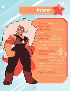 Jasper's description, Guide to the Crystal Gems