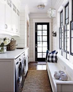 Combine It With Your Laundry Room - 15 Mudroom Ideas We're Obsessed With - Southernliving. For smaller homes, an organized laundry room/mudroom combo is ideal. laundry room ideas floor plans 15 Mudroom Ideas We're Obsessed With Mudroom Laundry Room, Laundry Room Design, Laundry Decor, Outdoor Laundry Rooms, Bathroom Laundry, Mudrooms With Laundry, Farmhouse Laundry Rooms, Bath Laundry Combo, Laundry In Kitchen