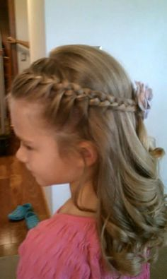 Braided and left down hair  HAIRSTYLE