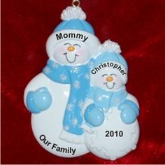 Single Parent 1 Child Family - Personalized First Christmas Ornament