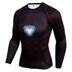 Compression T-Shirt Print Superman Superhero Punisher Fitness Tee Shirt Workout Long Sleeve Crossfit Bodybuilding Tshirts 842 3d T Shirts, Gym Shirts, Running Shirts, Sports Shirts, Iron Man Workout, Workout Gear, Workout Pants, Mma, Iron Man Arc Reactor