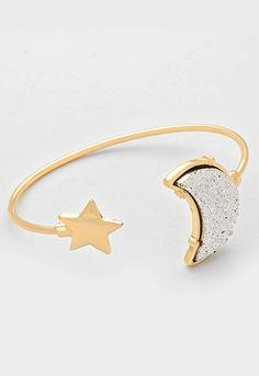 Druzy Crescent Moon & Star Cuff Bracelet - Silver