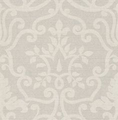 Kashmir Silver (1934/909) - Prestigious Wallpapers - A raw silk fabric effect wallcovering, with a delicate sheen, overlaid with a subtle leaf damask design. Shown in silver grey. Other colours and silk background available. Please ask for sample for true colour match.