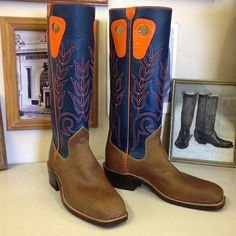 Custom Cowboy Boot. Blue uppers with orange kidskin accents. And waxed rough out vamps. #beckcowboyboots #beckboots #customboots #boots #cowboyboots #handmadecowboyboots #madeintexas