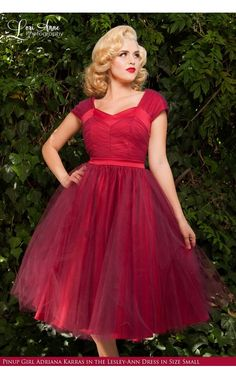 Laura Byrnes California- Lesley-Ann Dress in Red with Burgundy Tulle | Pinup Girl Clothing