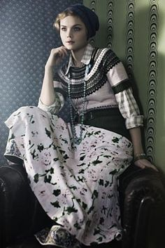 Like the layers and patterns (noa noa), and yes, I do own the short-sleeved knitted sweater.
