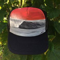Seeing Red —hand-painted (acrylic) on black trucker hat 217761ead590
