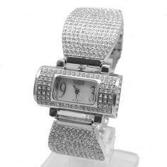 FW870B New Shiny Silver Band Rectangular White Dial Ladies Women Bracelet Watch