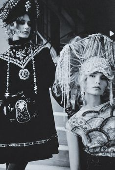 ingūna butāne and natasha poly shot by karl lagerfeld dressed in chanel paris-moscou pre-fall 2009