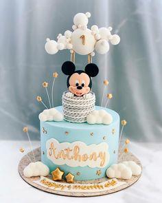 Mickey Mouse Birthday Cake, Baby Boy 1st Birthday Party, Baby Birthday Cakes, Baby Boy Cakes, Disney Birthday, Mickey Mouse Torte, Baby Mickey Mouse Cake, Mickey Cakes, Creative Birthday Cakes