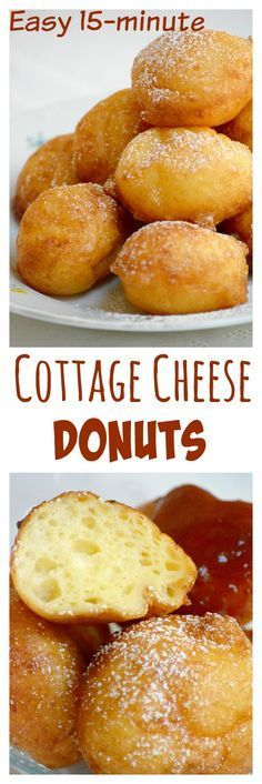 Hungarian cottage cheese donuts (Túrófánk) are very easy to make, ideal for beginners. It takes only 15 minutes to prepare. The dough does not contain yeast, just a small amount of baking soda. Try this recipe, it is easy, quick and delicious. Quick Dessert Recipes, Desserts For A Crowd, Donut Recipes, Delicious Desserts, Cooking Recipes, Yummy Food, Free Recipes, Quick Recipes, Small Desserts