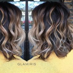 Sassy & dimensional textured lob •  Base + Balayage sombre + cut