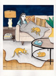 Relaxing with the Cats Original Cat Folk Art by KilkennyCatArt