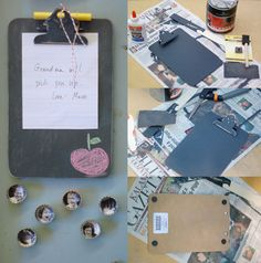 chalkboard painted magnetic clipboard! cute! I also LOVE the bottle cap photo magnets!