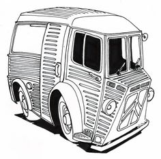 . Citroen Type H, Citroen H Van, French Signs, Car Illustration, Colouring Pages, Food Truck, French Vintage, Cars And Motorcycles, Cool Cars