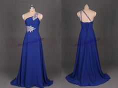 Long royal blue chiffon bridesmaid gowns with by PrincesssBride, $129.00
