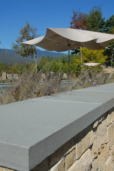 thermalized bluestone - capstone at roof parapet, capstone at site walls and paver option
