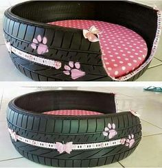 Cute repurposed tire into a dog bed.