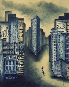Urban XXX - Flatiron -Techniques mixtes : collages de vieux papiers, encre de chine, pierre noire, aquarelle, fusain - 40 cm x 50 cm - www.geraldinetheurot.canalblog.com