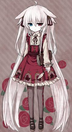 1girl ahoge alice_claudia animal_ears blue_eyes book bow dress expressionless flat_gaze flower hair_between_eyes hair_ornament hair_ribbon h...
