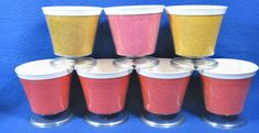 7 Vintage Burlap Straw Weave Raffia Ware Melmac Dessert Pedestal Cup Dish TiKi