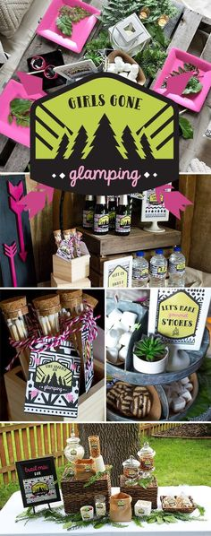 It's time to grab your ladies and head to the woods. Check out this Girls Gone Glamping Party from Elva M Design Studio. Perfect for a bachelorette, bridal shower, or just a night in with the girls! Adult Birthday Party, Sleepover Party, Birthday Party Themes, Girl Birthday, Birthday Ideas, 12th Birthday, Theme Parties, Husband Birthday, Kylie Birthday
